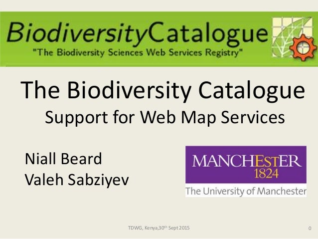 TDWG, Kenya,30th Sept 2015 0 Niall Beard Valeh Sabziyev The Biodiversity Catalogue Support for Web Map Services