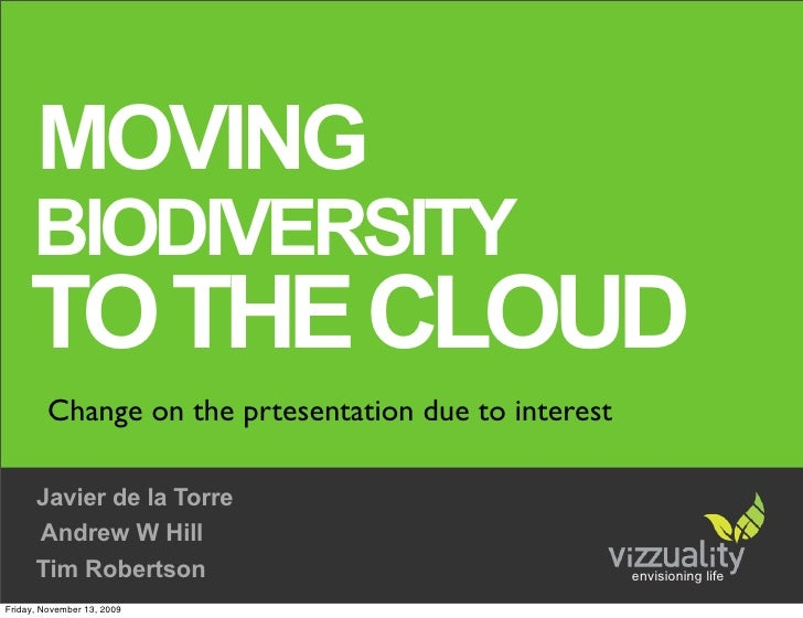 MOVING       BIODIVERSITY      TO THE CLOUD          Change on the prtesentation due to interest        Javier de la Torre...