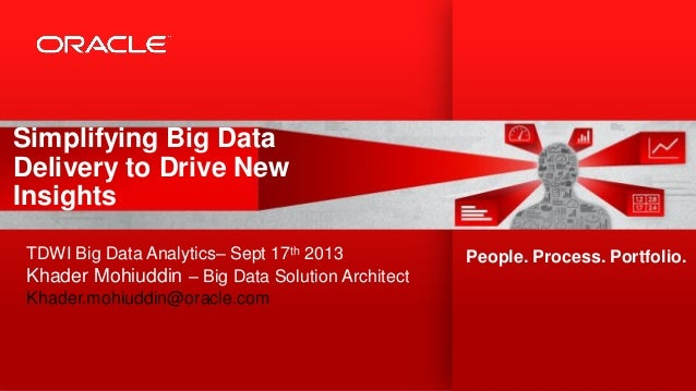Simplifying Big Data Delivery to Drive New Insights TDWI Big Data Analytics– Sept 17th 2013 Khader Mohiuddin – Big Data So...