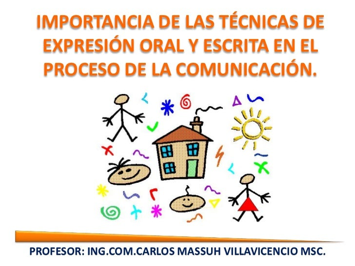 IMPORTANCIA DE LAS TÉCNICAS DE  EXPRESIÓN ORAL Y ESCRITA EN EL  PROCESO DE LA COMUNICACIÓN.PROFESOR: EXPRESIÓN ORAL ENESCR...