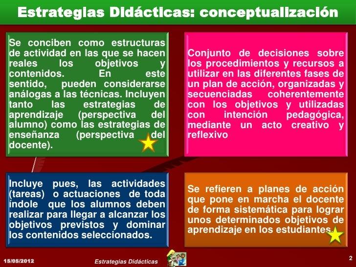 Estrategias Didácticas: conceptualización             Se conciben como estructuras de             actividad en las que se ...
