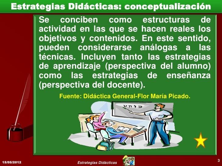 Estrategias Didácticas: conceptualización             Se refieren a planes de acción             que    pone   en   marcha...