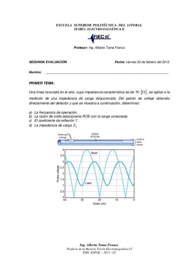 SEGUNDA Alumno: PRIMER TEMA: Una línea ranurada en el aire medición de una impedancia de carga directamente del detector a...