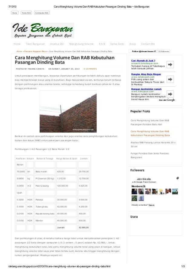 Cara menghitung volume dan rab kebutuhan pasangan dinding