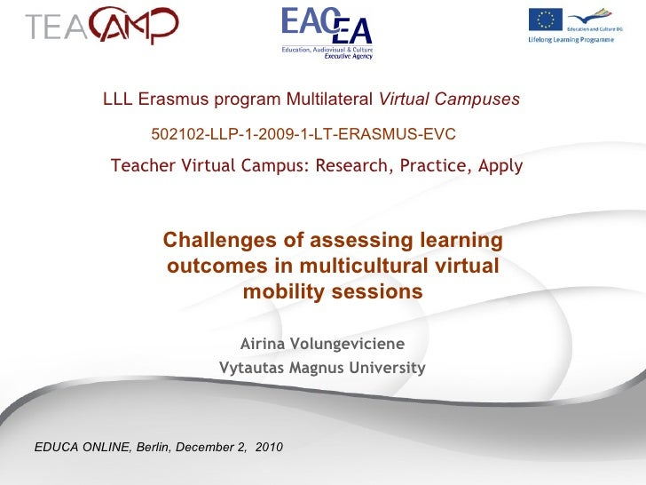 LLL Erasmus program Multilateral  Virtual Campuses     Teacher Virtual Campus: Research, Practice, Apply 502102-LLP-1-2009...