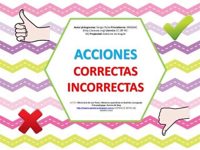 ACCIONES CORRECTAS INCORRECTAS AUTOR: María José de Luis Flores. Maestra especialista en Audición y Lenguaje- Psicopedagog...