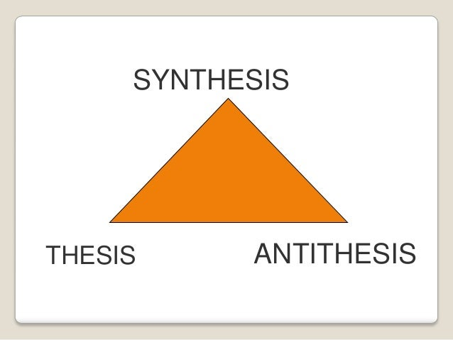 thesis antithisis synthesis The triad thesis, antithesis, synthesis ( german : these, antithese, synthese originally: thesis, antithesis, synthesis) is often used to describe the thought of.