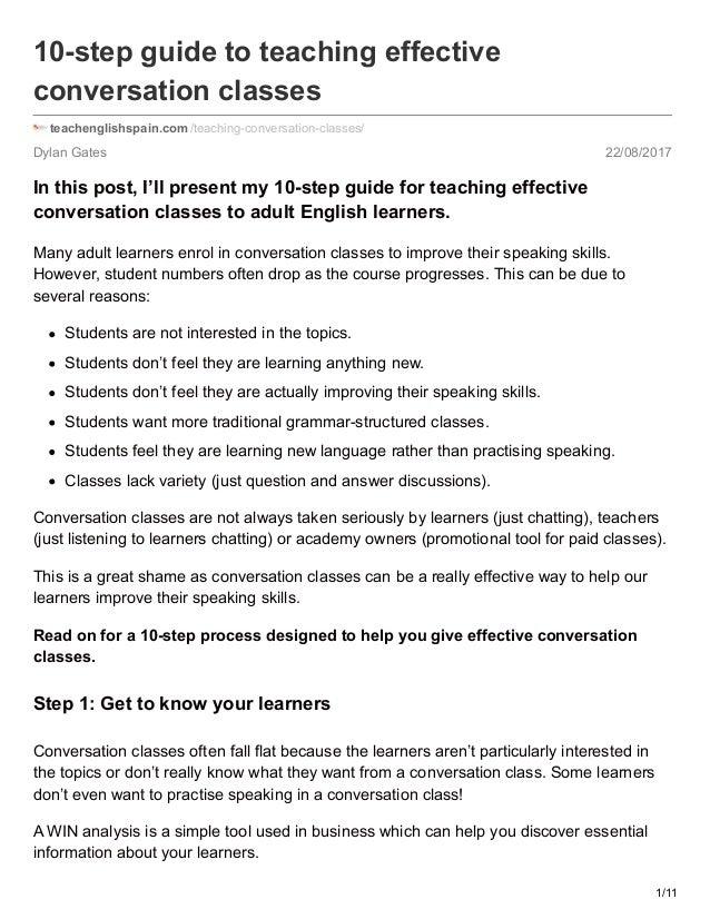 Dylan Gates 22/08/2017 10-step guide to teaching effective conversation classes teachenglishspain.com /teaching-conversati...
