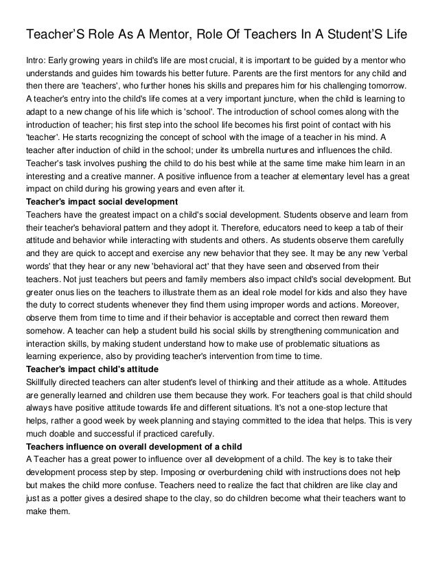 Essay On Students Life  Romefontanacountryinncom Teachers Role As A Mentor Role Of Teachers In A Students Life  Essay Samples For High School also Corruption Essay In English  Mental Health Essay