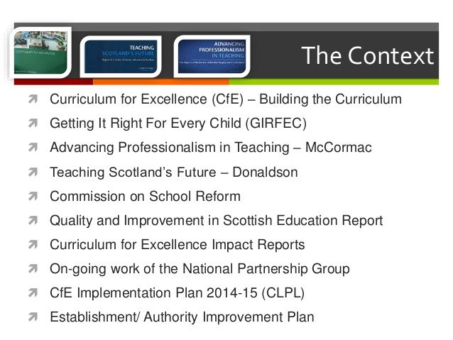 the curriculum for excellence has on teacher professionalism education essay Teacher identities and professionalism research implementation of the curriculum for excellence a key report into teacher education in scotland.
