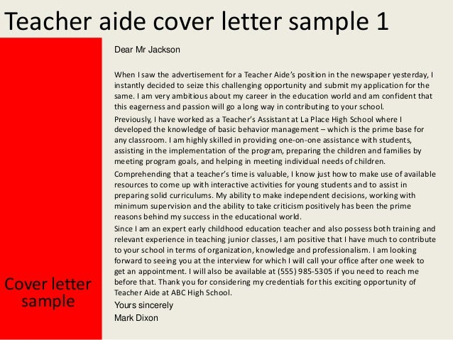 Teachers Aide Cover Letters