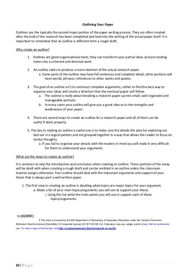 teacher and student guide for writing research papers  10 10 p a g e outlining