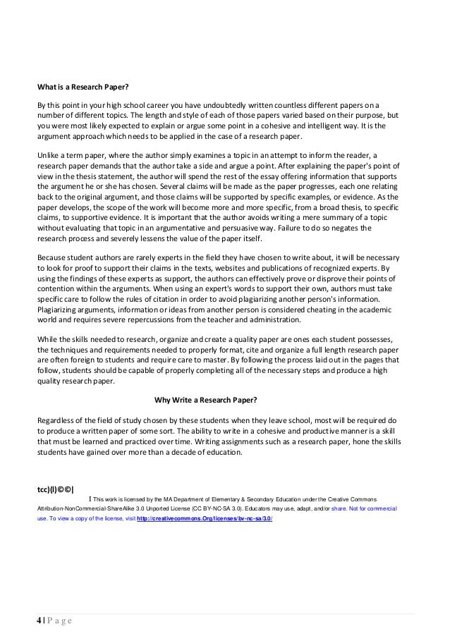 Teacher and Student guide for writing research papers