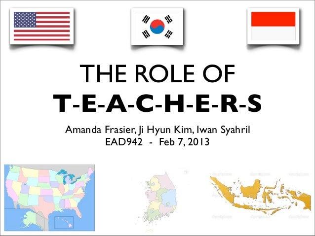 THE ROLE OFT-E-A-C-H-E-R-SAmanda Frasier, Ji Hyun Kim, Iwan Syahril       EAD942 - Feb 7, 2013