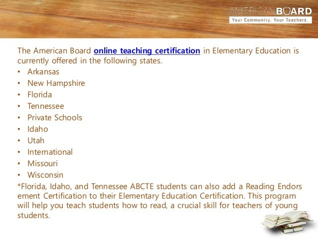 teacher certification in elemenatary education