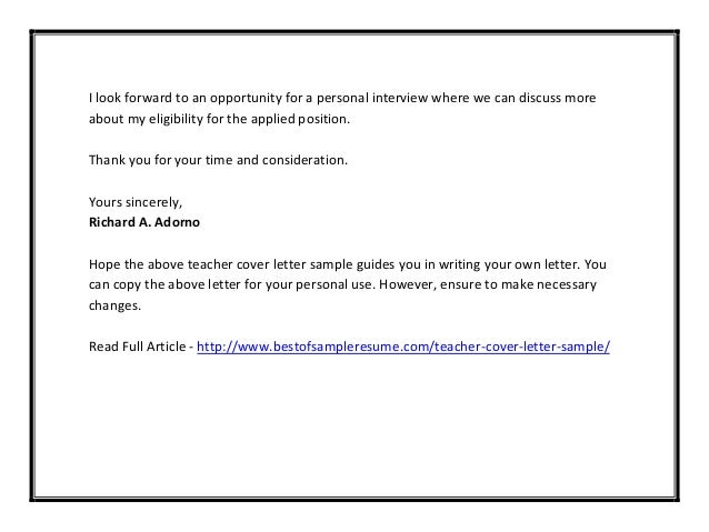 Teacher cover letter sample pdf for Cover letter thank you for your consideration