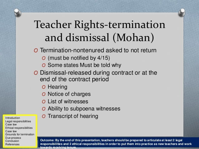 Dismissal of tenured teachers dissertation