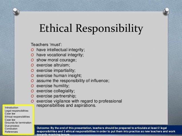 Teacher ethics and responsibilities