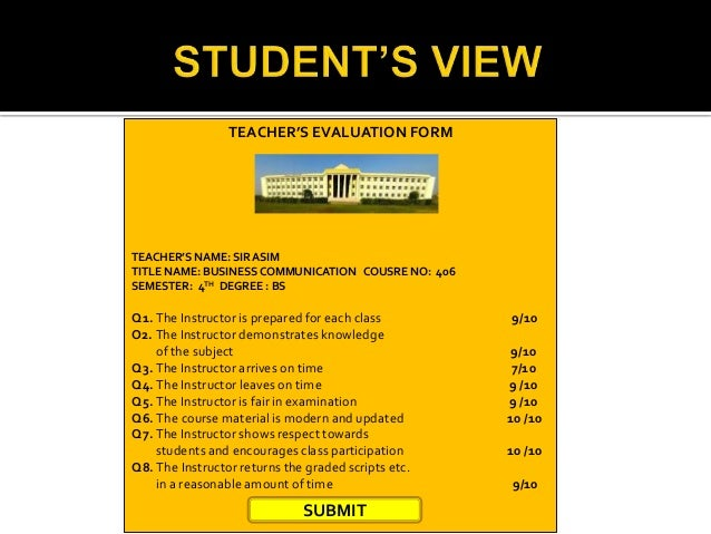 Teacher evaluation form – Teacher Evaluation Form