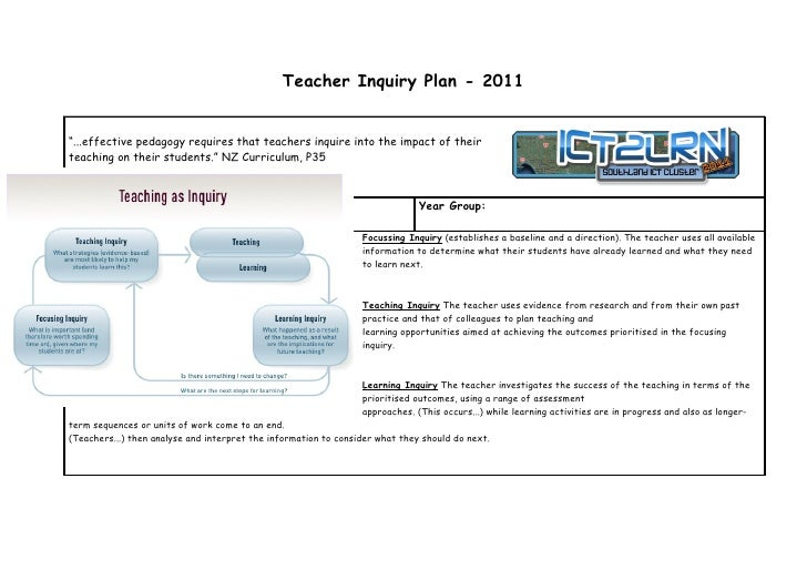 """Teacher Inquiry Plan - 2011""""...effective pedagogy requires that teachers inquire into the impact of theirteaching on their..."""