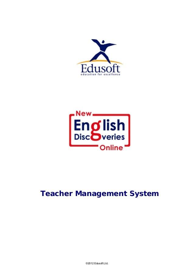 Teacher Management System ©2012 Edusoft Ltd.