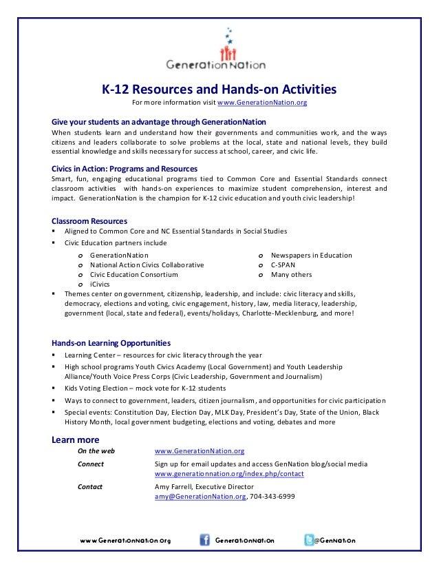 K‐12ResourcesandHands‐onActivities Formoreinformationvisitwww.GenerationNation.org  Giveyourstudentsanad...