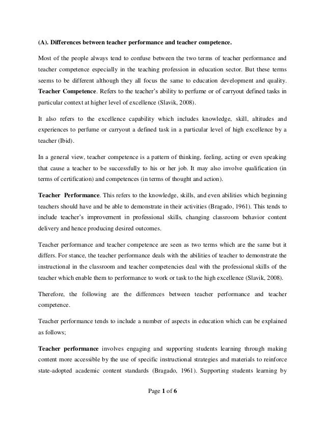 Page 1 of 6(A). Differences between teacher performance and teacher competence.Most of the people always tend to confuse b...