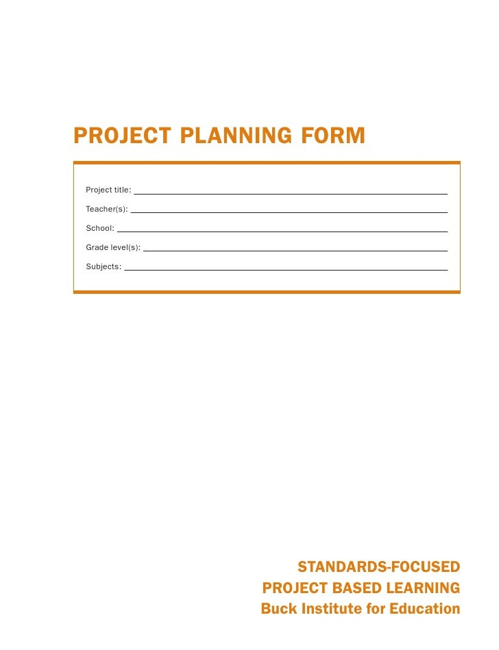 PROJECT PLANNING FORM  Project title:  Teacher(s):  School:  Grade level(s):  Subjects:                           STANDARD...