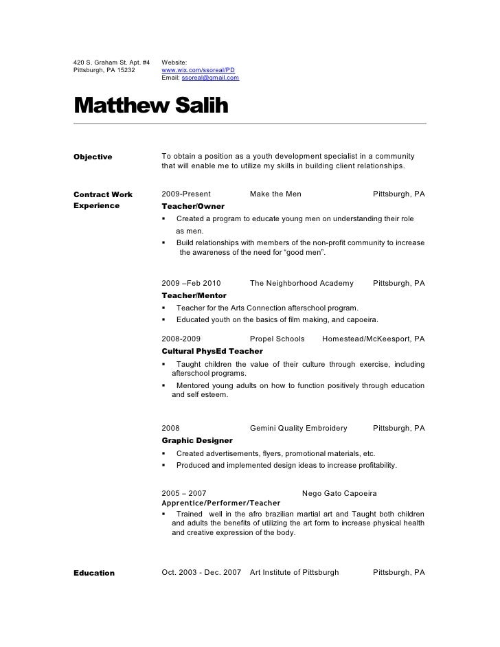 Teacher resume 2010. 420 S. Graham St. Apt. #4 Website: Pittsburgh, ...