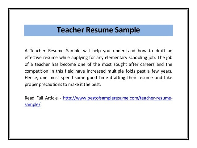 teacher resume sample pdf - Sample Resume For Teachers Job