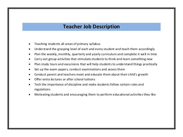 Great Teacher ...  Teacher Job Description For Resume