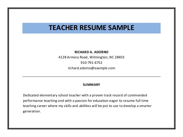 TEACHER RESUME SAMPLE ...