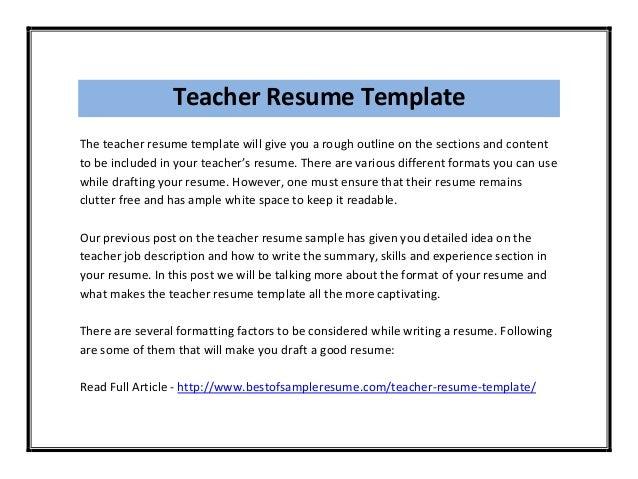 Functional Teaching Resume Sample Sample Resume For Tutor And Elementary  School Teacher Sample Teacher Resume Template