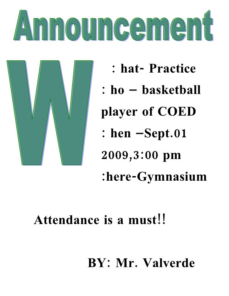 : hat- Practice            : ho – basketball            player of COED            : hen –Sept.01            2009,3:00 pm  ...