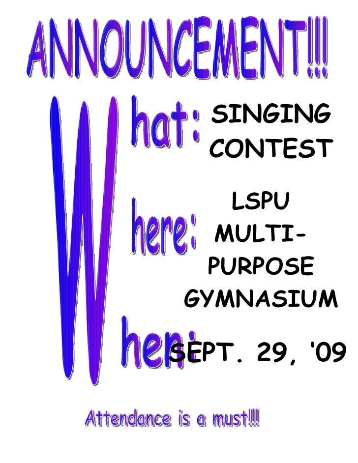 SINGING   CONTEST       LSPU     MULTI-    PURPOSE  GYMNASIUM  SEPT. 29, '09