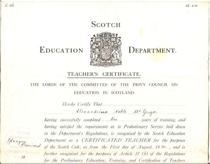 Teacher's certificate