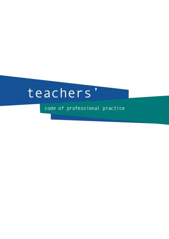code of professional practice teachers'