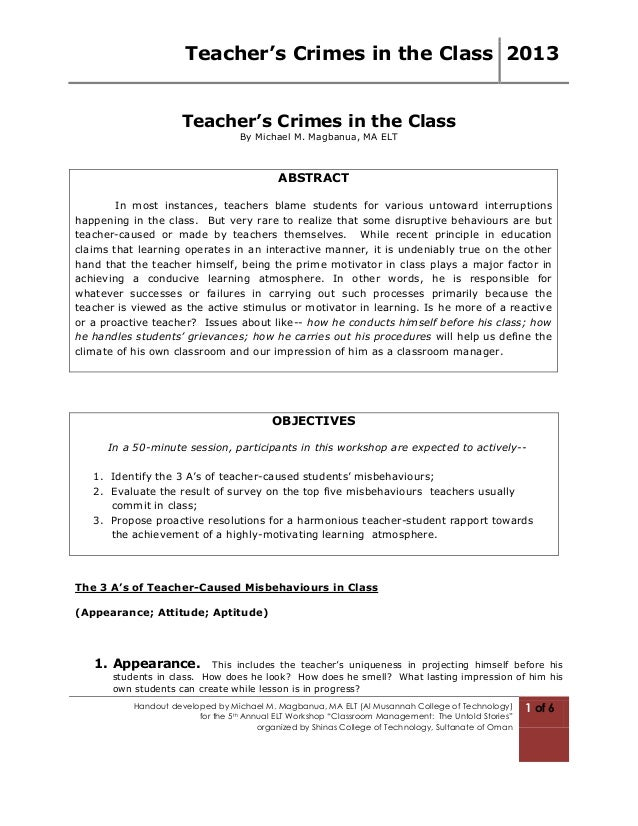 Teacher's Crimes in the Class 2013Handout developed by Michael M. Magbanua, MA ELT (Al Musannah College of Technology)for ...