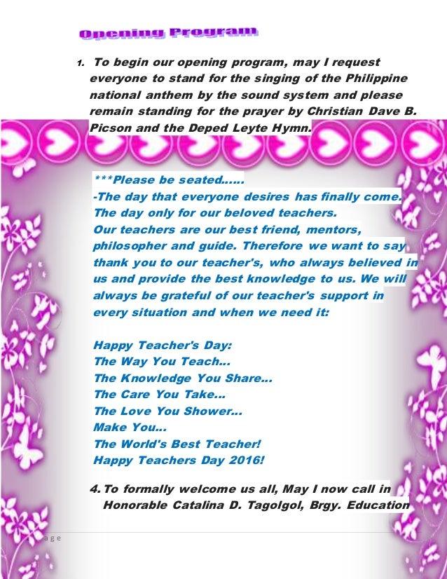 teachers day script macunay