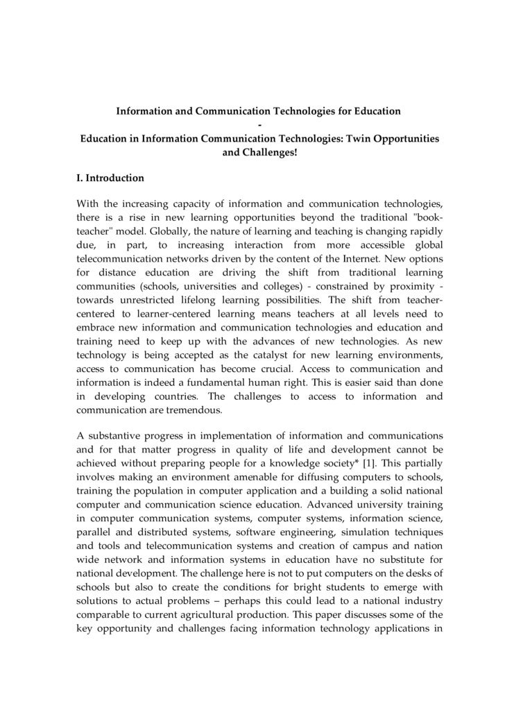 research paper on ict The positive impact of elearning— 2012 update this paper summarizes some key research findings the positive impact of elearning - 2012 update.