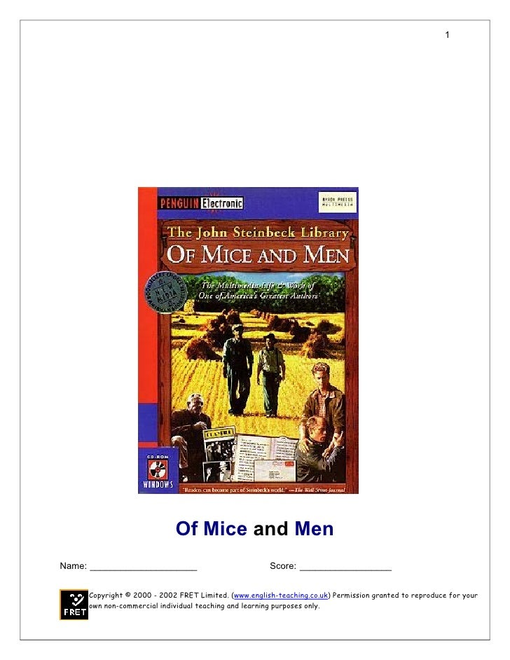 1                            Of Mice and MenName: _____________________                           Score: _________________...