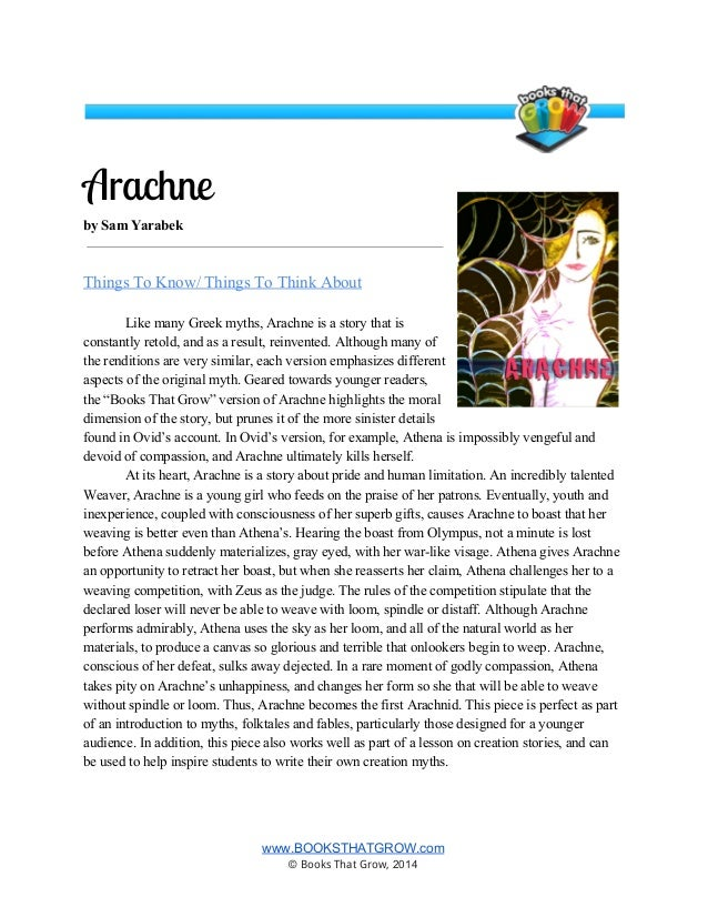 an analysis of the story of arachne in ancient mythology Mythology themes from litcharts as with arachne, who (read full theme analysis) and represent one of the highest ideals of ancient greek culture.
