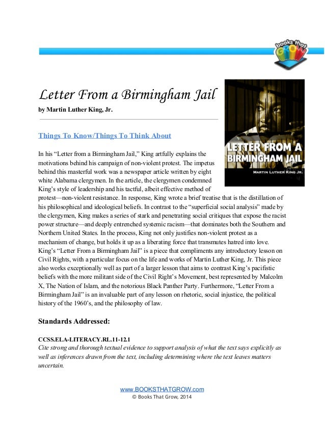 "letter from birmingham jail summary essays Writing assignment: analysis of king's ""letter from birmingham jail"" objectives understand how analysis differs from mere summary or evaluation."