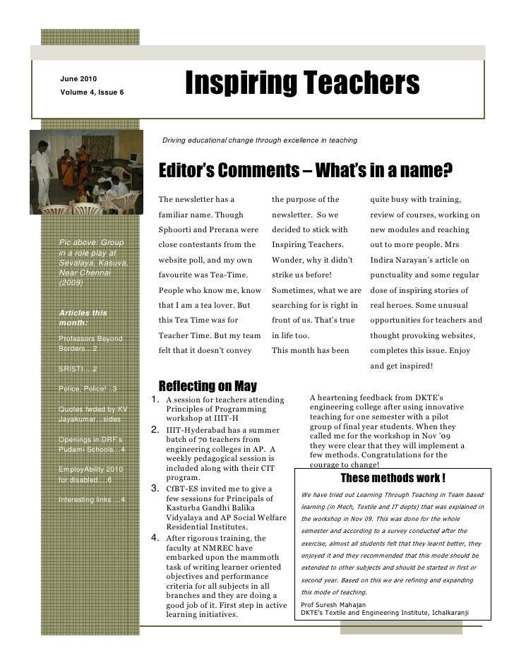 June 2010 Volume 4, Issue 6               Inspiring Teachers                           Driving educational change through ...