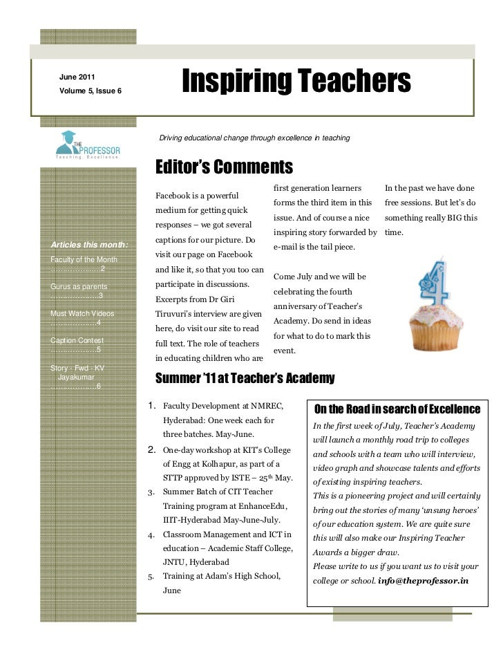 June 2011  Volume 5, Issue 6              Inspiring Teachers                         Driving educational change through ex...