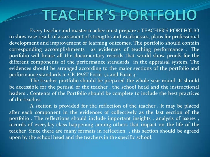 Teacher s portfolio for Professional teaching portfolio template