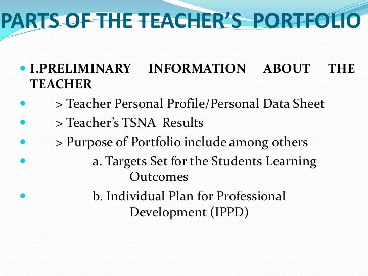 Teachers portfolio br 2 parts of the teachers portfoliobr pronofoot35fo Image collections