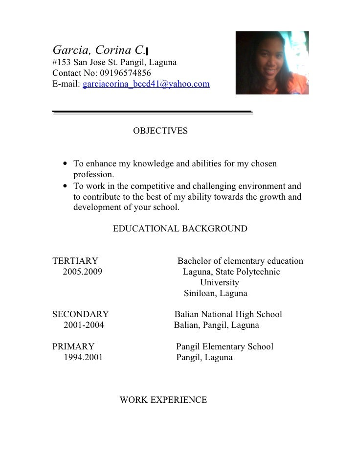 resume examples for teaching