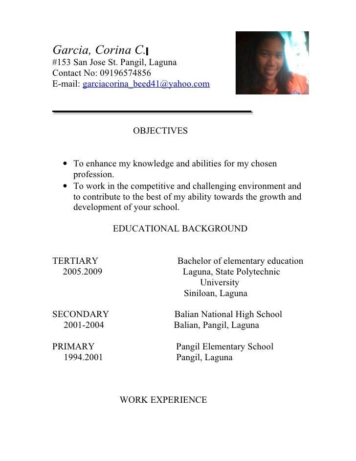 sample resume for filipino teacher templates - Sample Resume Of Teacher Philippines