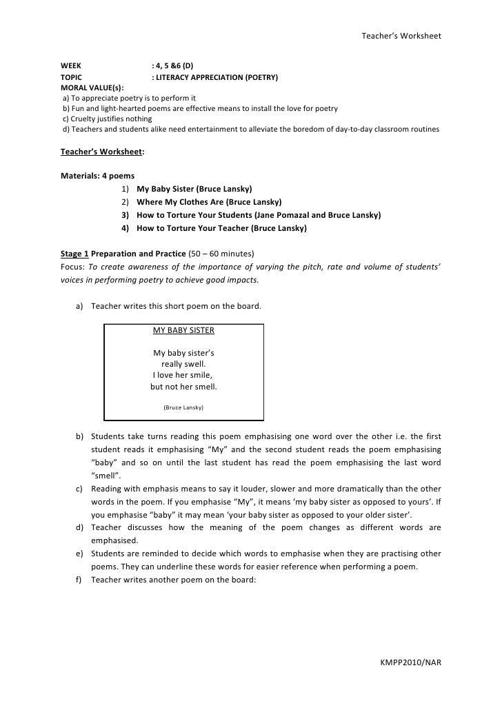 Teacher's Worksheet   WEEK                        : 4, 5 &6 (D) TOPIC                       : LITERACY APPRECIATION (POETR...